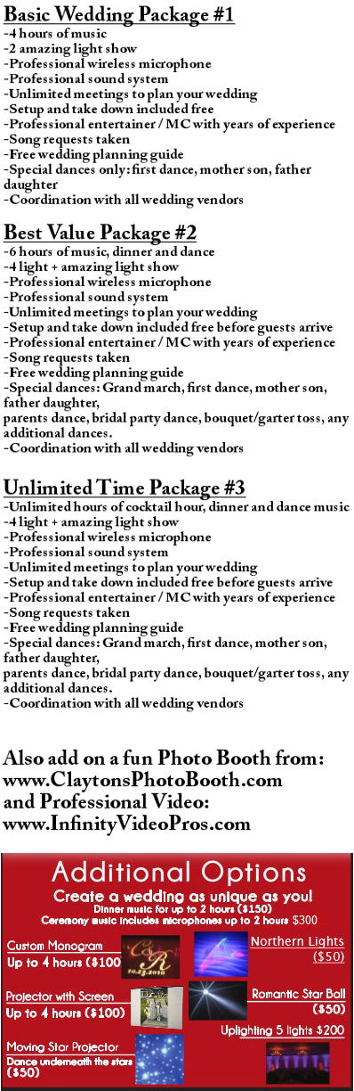 wedding price, wedding dj price, inexpensive wedding, dj prices, dj packages, dj sheboygan packages